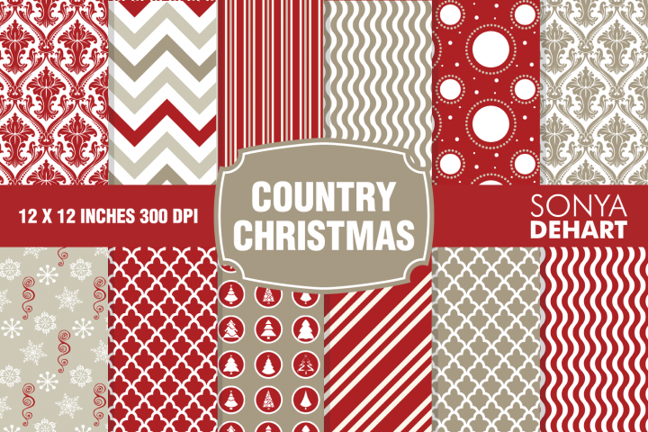 Country Christmas Vintage Farmhouse Digital Paper Patterns