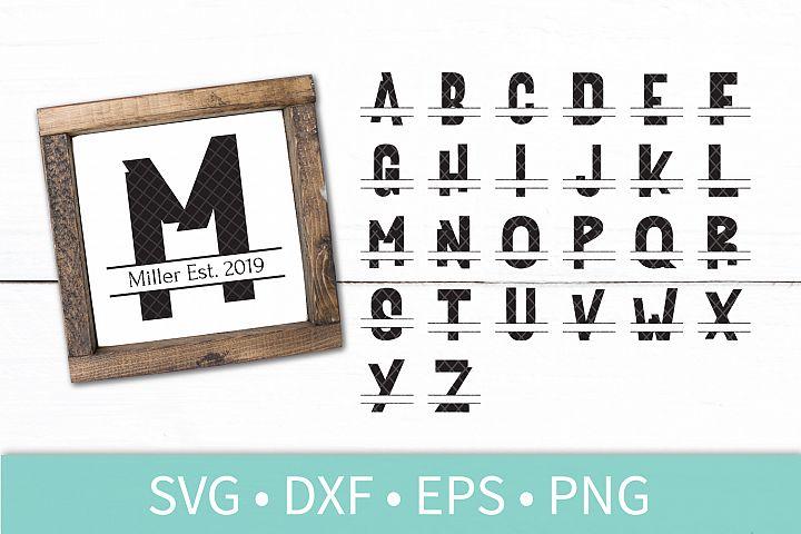 Chunky Split Monogram Letter Alphabet SVG DXF Vector Stencil