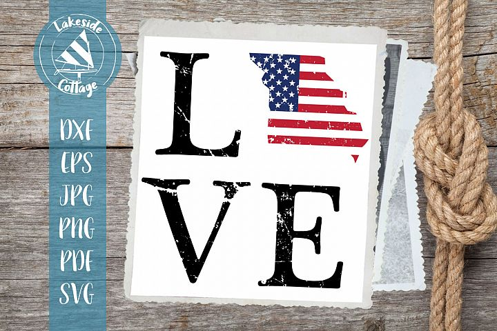 LOVE Missouri - 4th of july svg - memorial svg dxf eps