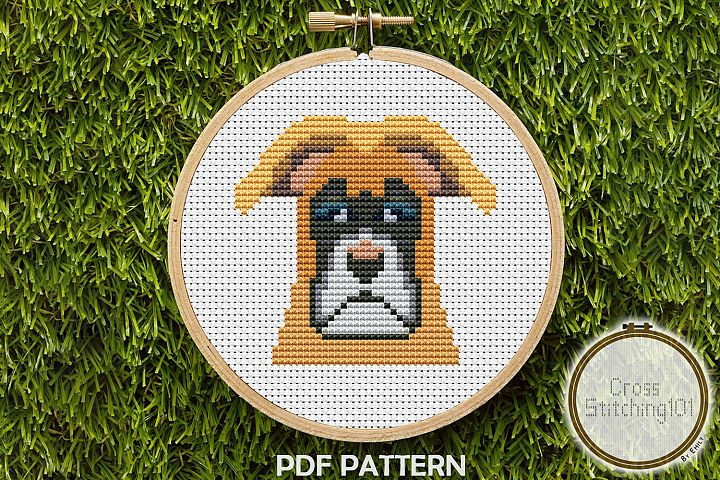 Boxer Dog Cross Stitch Pattern -Instant Download PDF