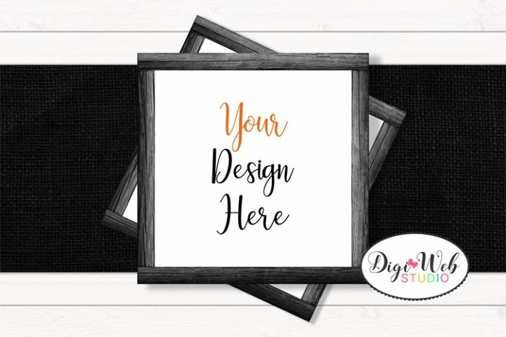 Flat Lay Wood Frames Mockup - Halloween Mix Table Runner