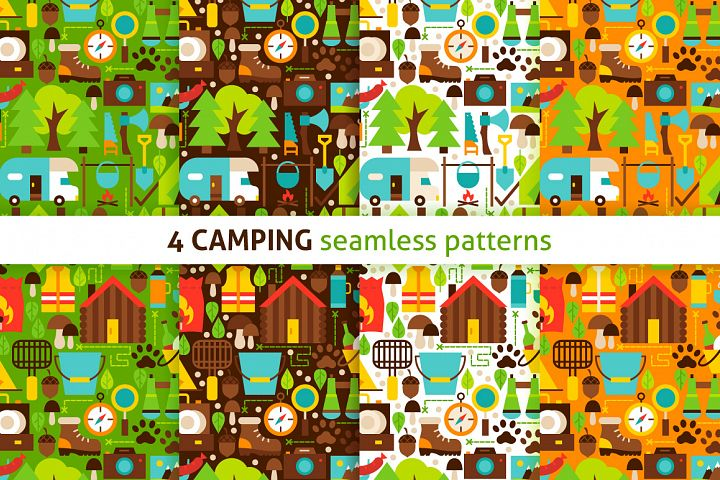 Camping Flat Seamless Patterns