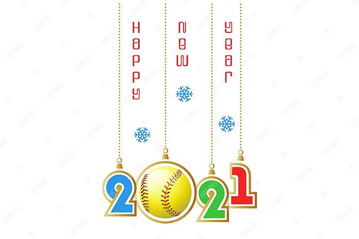 2021 Happy New Year. Sports greeting card. Softball.