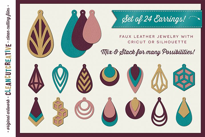 Set of 24 Faux Leather Earrings - SVG DXF EPS PNG craft file