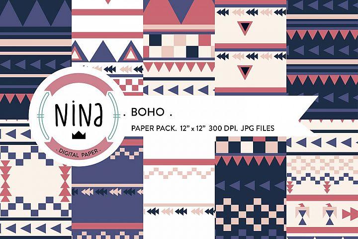 Boho Digital Paper Pack, Boho style patterns, digital paper