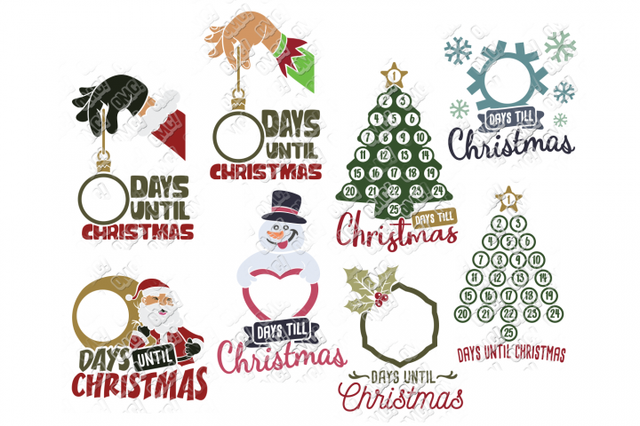 Christmas Countdown SVG Bundle in SVG, DXF, PNG, EPS, JPG