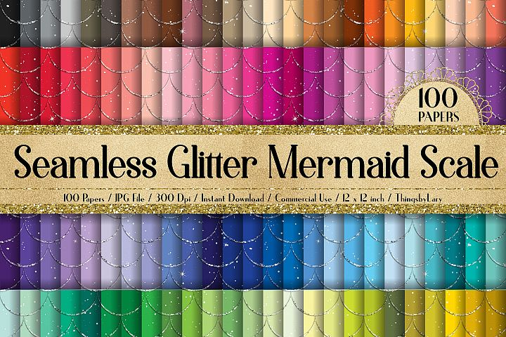 100 Seamless Fantasy Glitter Mermaid Scale Digital Papers