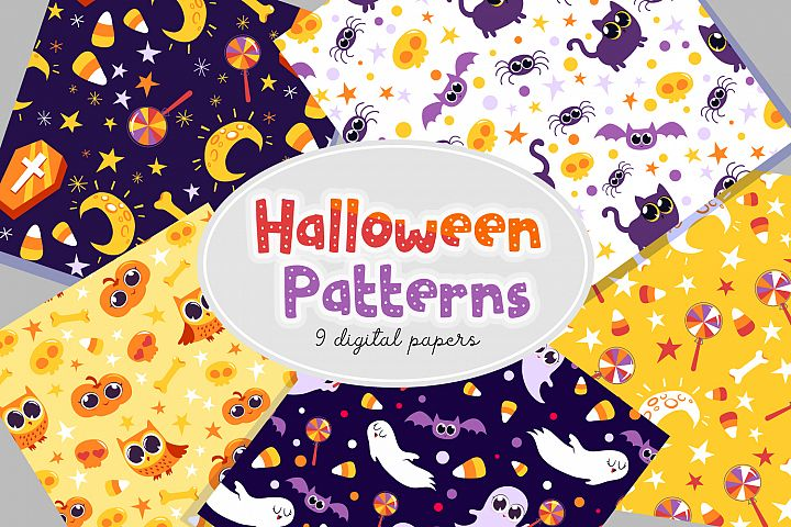 Halloween Patterns- 9 digital papers