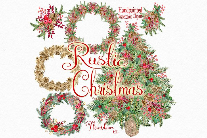 Watercolor Rustic Christmas Woodland Clipart
