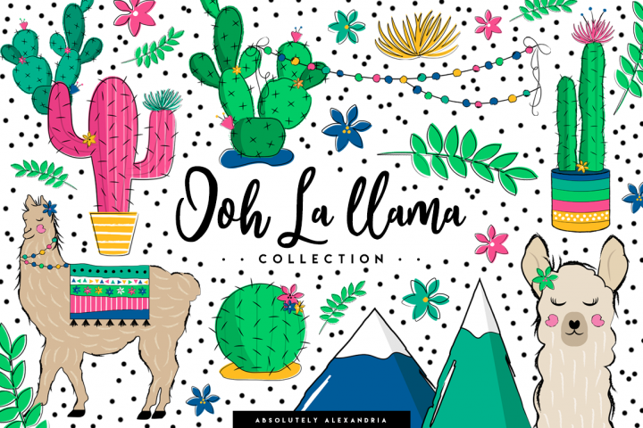 Ooh La llama Clipart Illustrations & Seamless Digital Papers