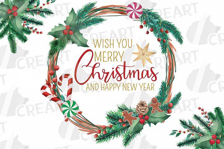 Christmas wreath, holiday decor. Watercoulor winter clip art