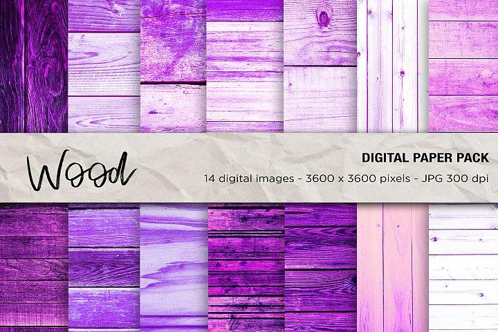 Wood Digital Papers, Purple Wood Background, Wood Textures