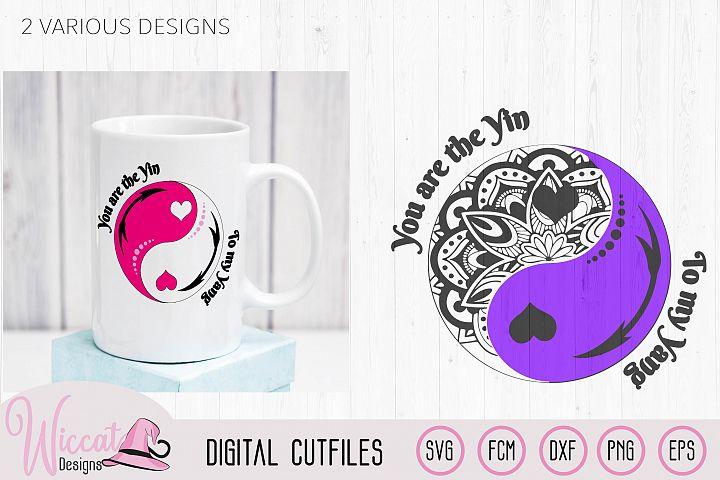 Yin Yang svg, doodle cut files, valentine svg