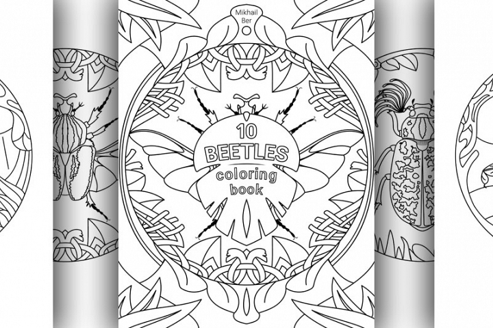 10 beetles animals in one coloring book, in two versions