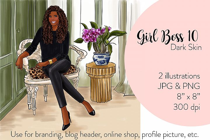 Fashion illustration - Girl boss 10 - Dark Skin