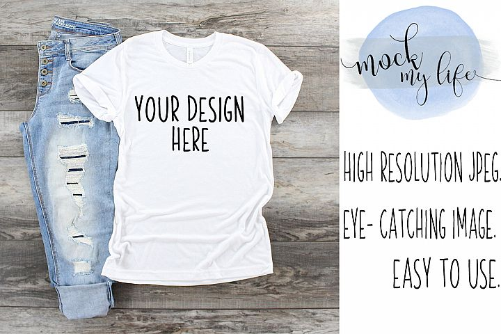 White Bella Canvas Mockup / Plain Shirt Mock up