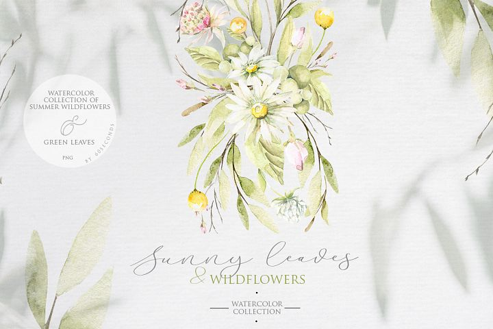 Spring leaves & wildflowers. Watercolor collection