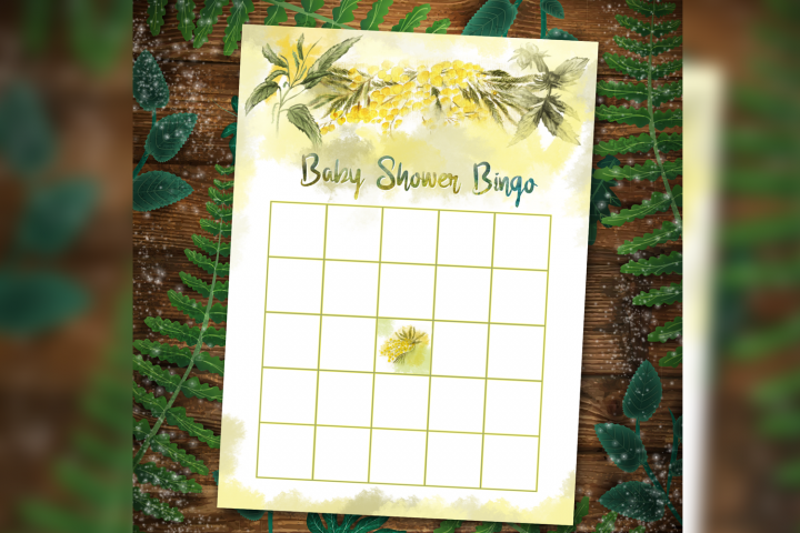 Floral Baby Shower BINGO Games Printable template
