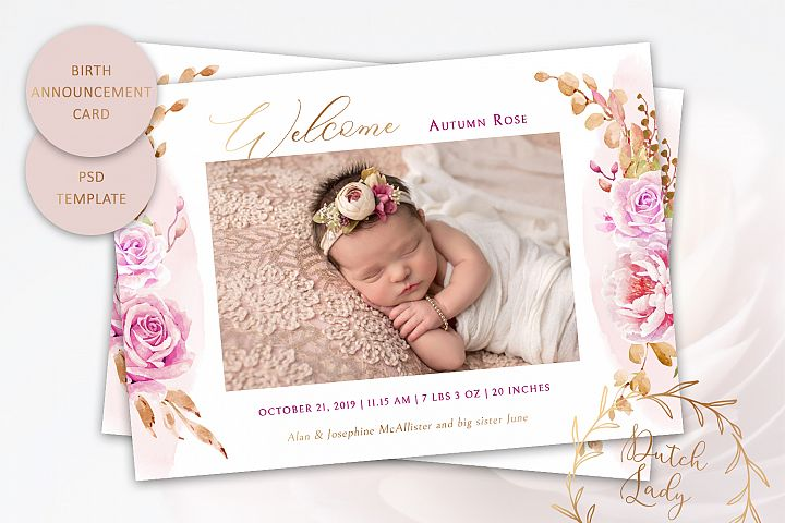 PSD Birth Announcement Card Template - Design #9