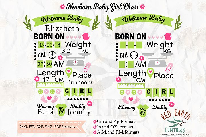 Baby girl announcement chart template SVG,DXF,PNG,EPS,PDF