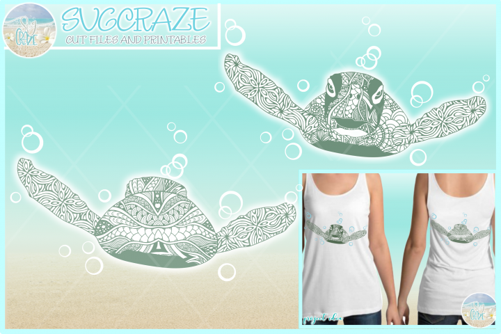 Sea Turtle Mandala Zentangle Front and Back View SVG
