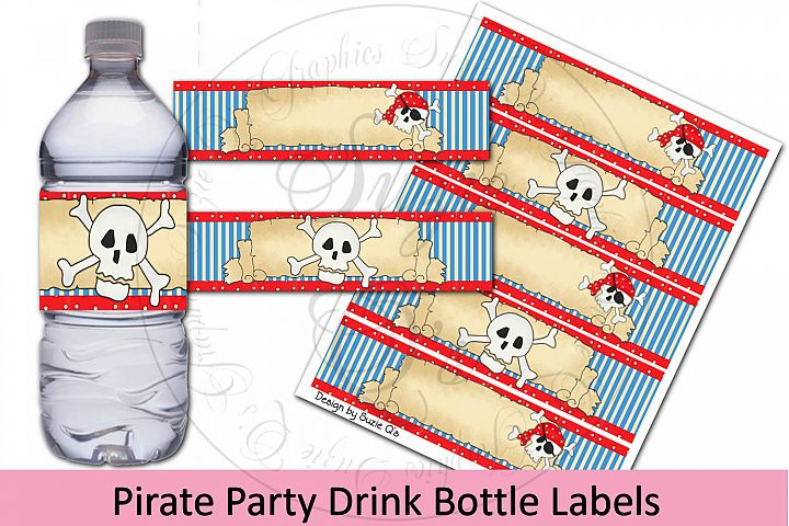 Pirate Party Drink Bottle Labels