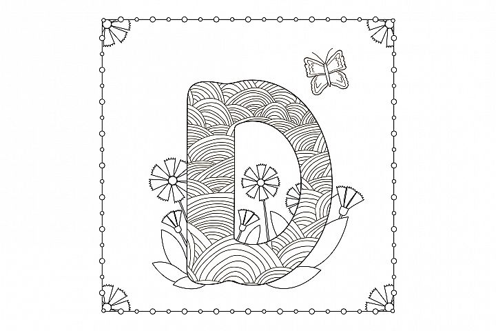 Letter D. Flowers. Coloring page.