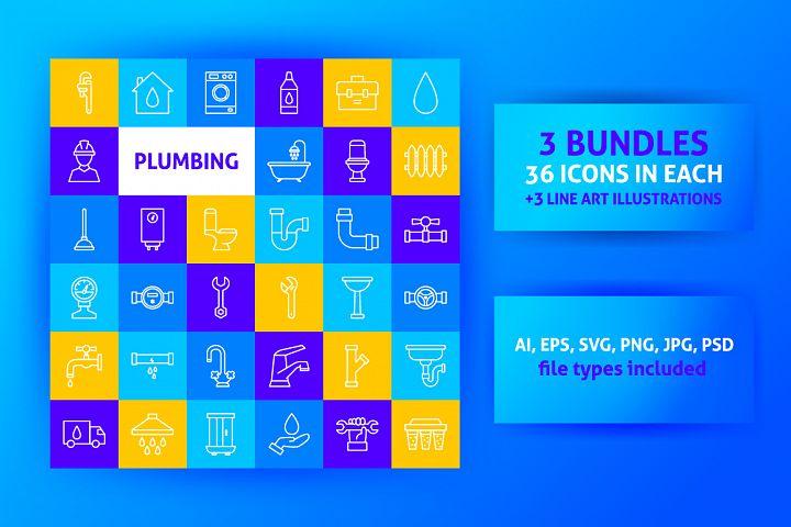 Plumbing Line Art Icons