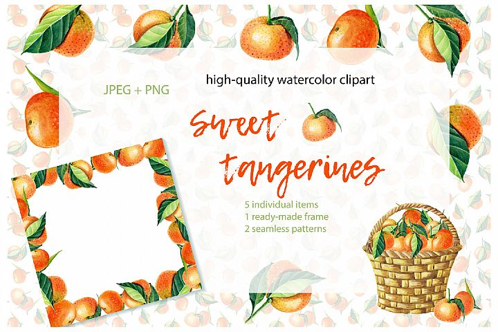 Sweet Tangerines. Watercolor clip-art.