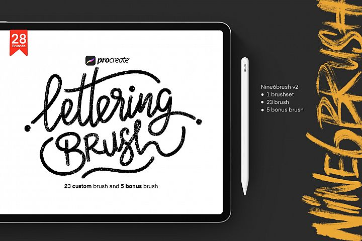 Nine6brush v2 | Lettering brush Procreate