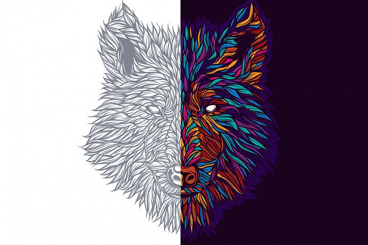 Vector wolf print
