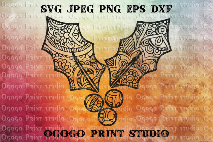 Christmas Holly Svg, Christmas SVG, Zentangle SVG, Mandala