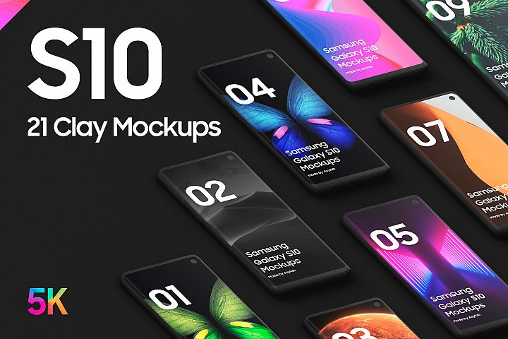 Samsung S10 - 21 Clay Mockups - 5K - PSD