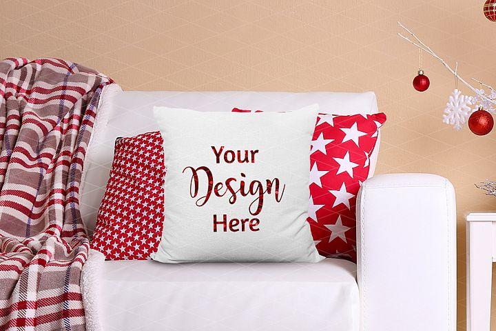 Christmas Pillow Mockup Farmhouse Style