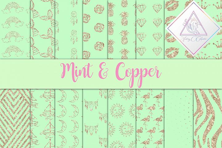 Mint & Copper Digital Paper