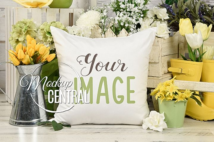 Country Spring Garden Flower Pillow Mockup JPG