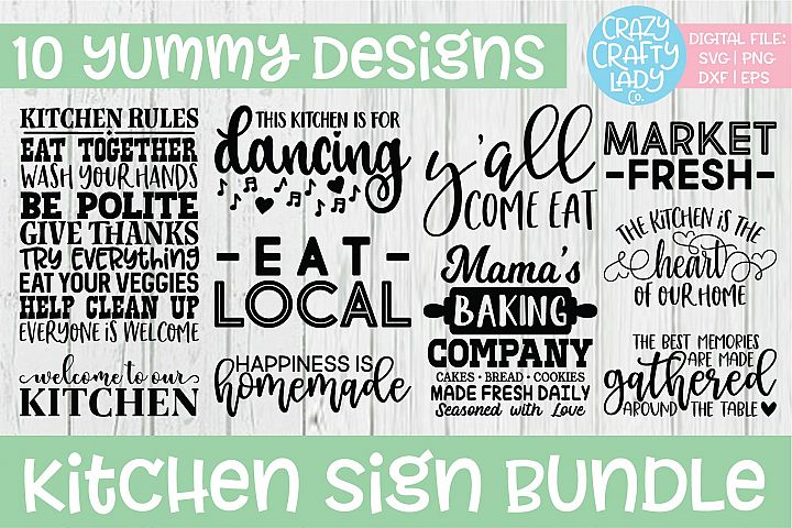 Kitchen Sign SVG DXF EPS PNG Cut File Bundle