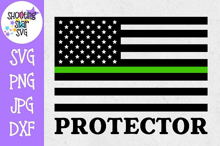American Flag Protector - Thin Green Line - Soldier SVG