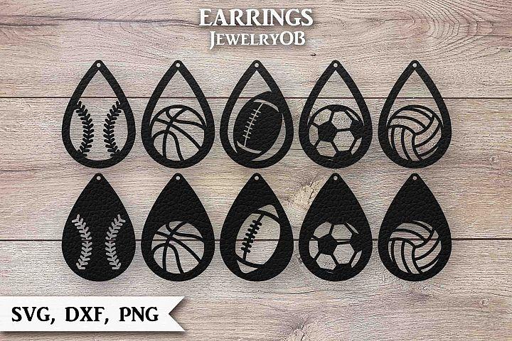 Sport Earrings Bundle, Cut File, SVG DXF PNG, Teardrop