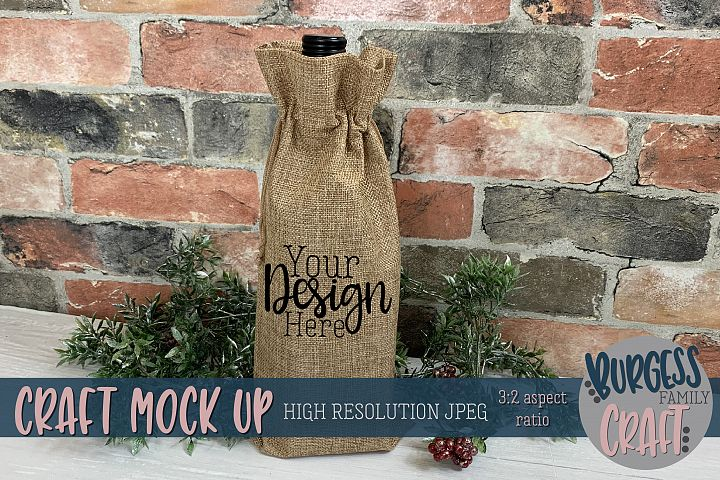 Christmas wine bag2 Craft mock up |High Res JPEG