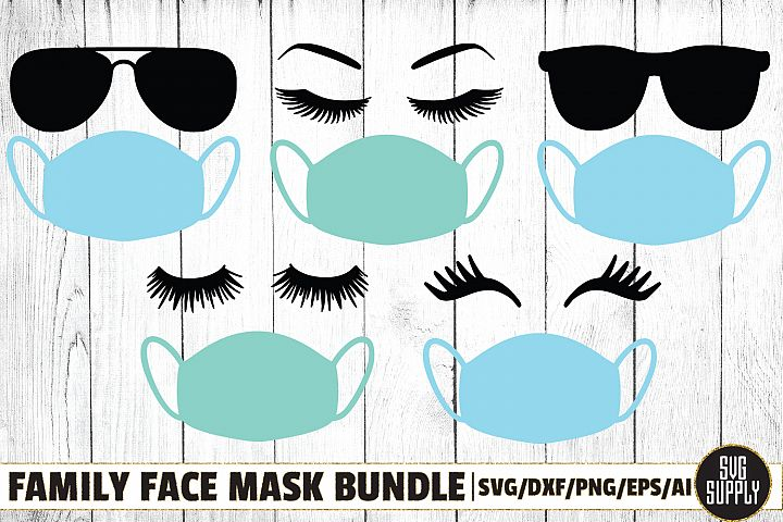 Family Fashion Face in Face Mask SVG Cut File Bundle