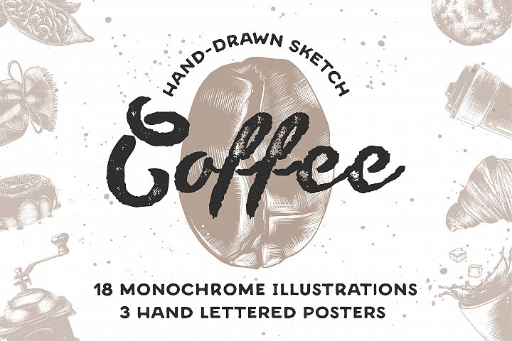 Coffee hand drawn sketch collection
