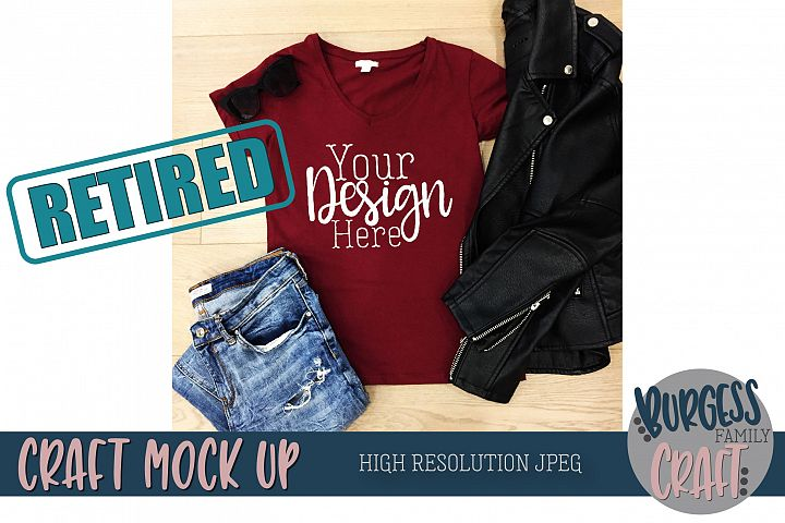 Red t-shirt Craft Mock up | High Resolution JPEG