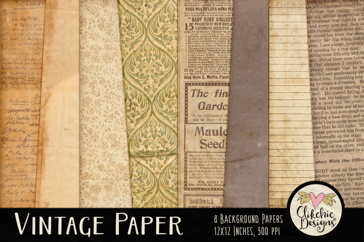 Vintage Paper Backgrounds - Vintage Texture Digital Papers