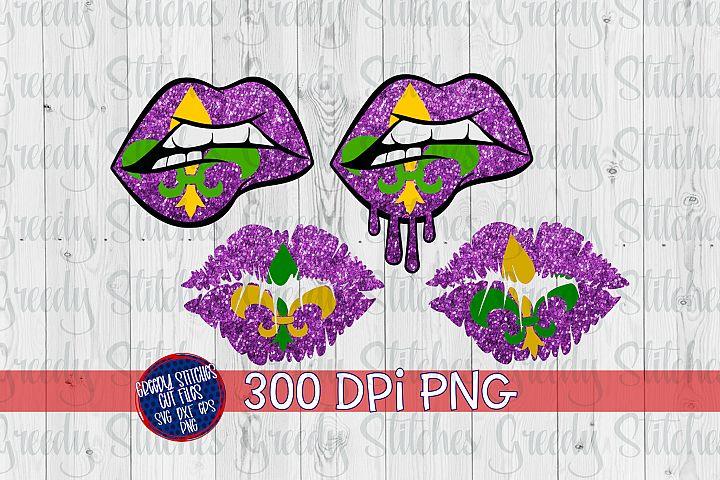 Glitter Mardi Gras Lips PNG For Sublimation