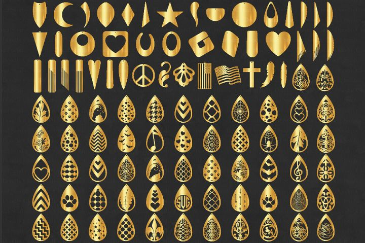 100 Earrings Bundle SVG, Earring SVG. Earring Templates.