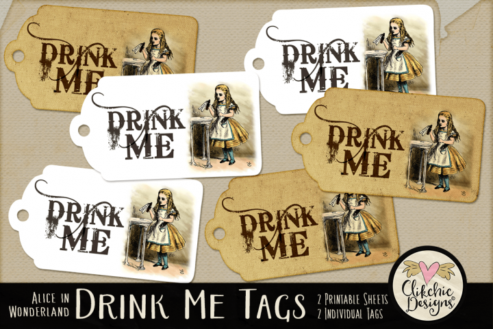 Alice in Wonderland Drink Me Printable Tags