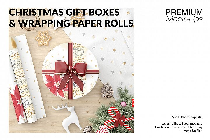 Christmas Gift Boxes & Wrapping Paper Set