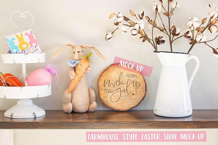 Easter Sign Mock Up - Round Wood Slice No. 2 - Spring Mockup