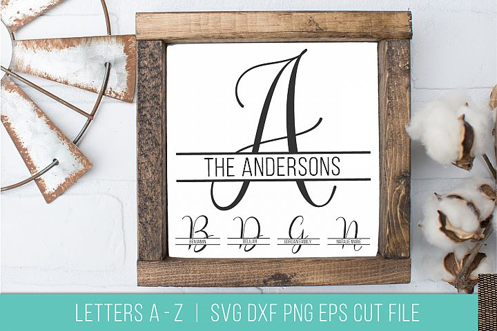 Split Monogram Letter Alphabet SVG DXF PNG Stencil Cut File